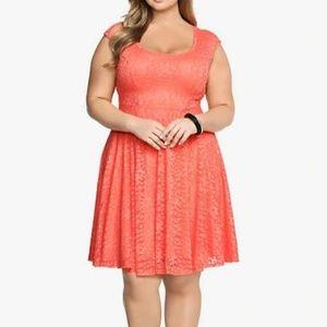 Torrid Lace Open Back Skater Dress Coral size 1/1X